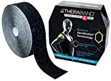 TheraBand - 12740 Kinesiology Tape, Waterproof Physio Tape for Pain Relief, Muscle & Joint Support, Standard Roll with XactStretch Application Indicators, 2 Inch x 103.3 Foot Bulk Roll, Black/Gray