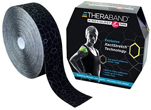 TheraBand Kinesiologie-Tape, wasserdichtes Physio-Tape zur Schmerzlinderung, Muskel- und Gelenkunterstützung, Standard-Rolle mit XactStretch Applikationsanzeigen, 5,1 cm x 30,3 m, Schwarz/Grau
