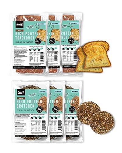 BenFit Vollkorn glutenfrei Brötchen und Toast Mix-Paket (3 x Toast und 3 x Brötchen)