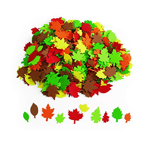 Colorations Colorful Foam Leaves, 500 Pieces, Assorted Colors & Sizes, Foam Shapes for Crafts, Precut Foam Leaf Shapes for Kids in Assorted Sizes, Ideal for Schools, Daycares, & Home Use, Kids Crafts