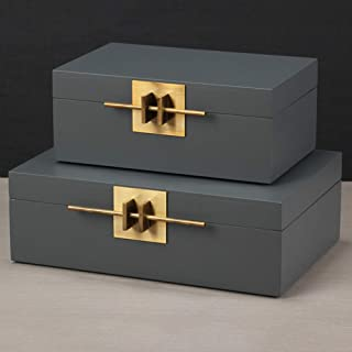 Songlin@yuan Lacquerware Jewelry Box Wood Earrings Ring Necklace Bracelet Storage Cosmetic Case Girl Woman Gift Portable Set (Color : Gray)