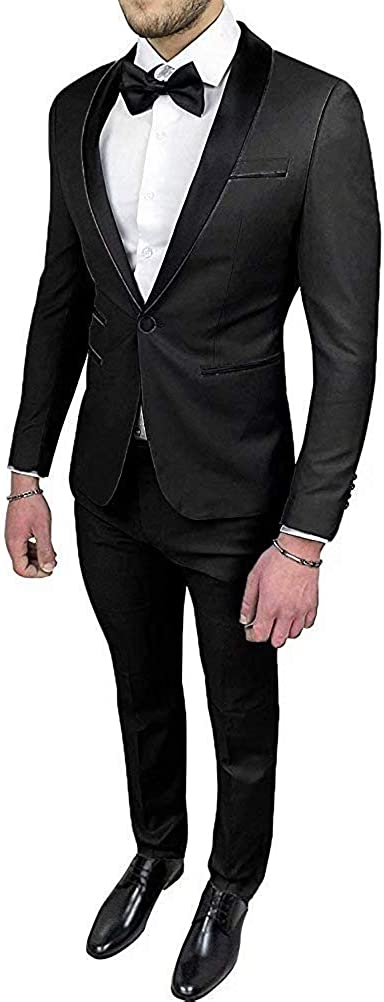 HOTK Men's Suits Solid Black Shawl Lapel 2 Piece Wedding Prom Party Groom Tuxedos