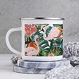 Tazza smaltata, divertente tazza da caffè, motivo: fenicottero rosa Bi D con foglie verdi, tazza da caffè, tazza da caffè, tazza da caffè, per giorno di ringraziamento/compleanno