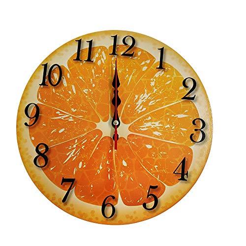 LOHAS Home Orologio da parete rotondo da 30,5 cm, silenzioso, senza ticchettio, in legno, con motivo frutta rinfrescante Arancione
