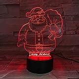 Lámpara de mesa LED 3D Regalo de los niños Navidad Papá Noel Mejor regalo Niños Color de la cama Luz de la noche Holograma
