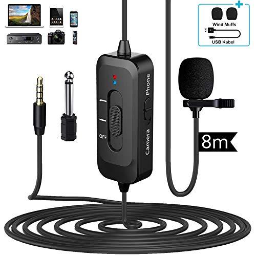 Ansteckmikrofon Lavalier Mikrofon für iPhone/Kamera/PC/Android mit USB-Lade omnidirektionales Ansteckmikrofon mit Rauschunterdrückung für YouTube Interview Video (D2)