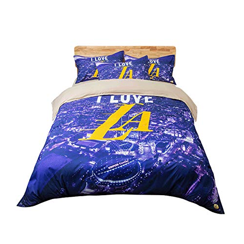 NAFE Lakers Bettwäsche-Set für Teens Jungen Twin/Full/Queen/King Größe Basketball Lila Bettbezug-Set, 1 Bettbezug + 2 Kissen King