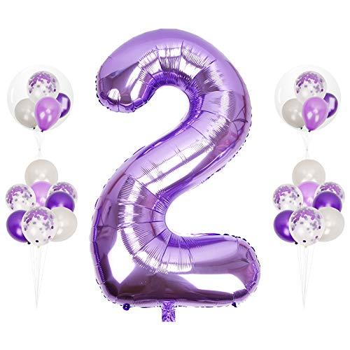 Herefun 0 to 9 Globo Número Gigante, 40inch Foil Globo Número Púrpura XXLGrande Globos Suministros de Fiesta Globo Inflable para La Boda Aniversario, Globo de Cumpleaños Fiesta Decoración (Number 2)