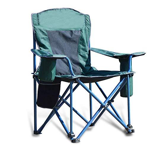 YQG Extra stor vadderad fyrkantig fåtölj, hopfällbara fällbara campingstolar med kopphållare, tåliga stöd 125 kg/125 kg, grön 60 x 60 x 98 cm