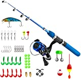 PLUSINNO Kids Fishing Pole,Light and Portable Fishing Rod and Reel Combos Telescopic Fishing Rod for...