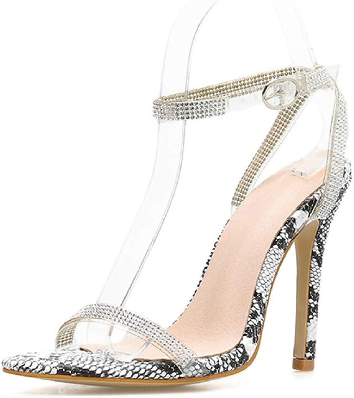 Women's Sandals, Stiletto Heel Snakeskin Dot Pattern Open Toe Slip Breathable Lining Comfortable Women's High Heel Sandals,40