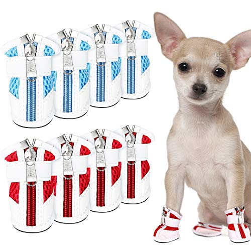 Dog Boots Waterproof Set of 4 Slip Resistant Dog Puppy Shoes Pet Booties with Adjustable Fastener Strap,Warm Wear-Resistant Dog Snow for Small Medium Large Dogs
