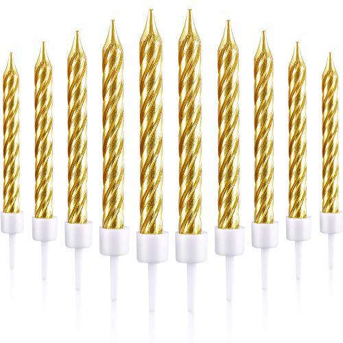 Huieng 50 Stück DIY Hochzeit Kuchen Kleine Kerzen Dinner Kerzen Living Party Kuchen Dekoration, Golden Thread Dinner Candles Birthday Candles