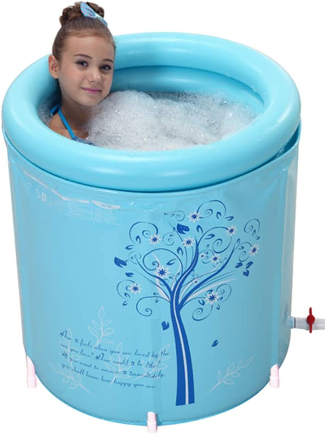 MFB Adult Bath Tub with Balloon, Foldable Bracket Structure, Full Body Tub Bath Tub 360° Continuous Lock Temperature Saves Space,Plastic Bathtub,Spa Massage Bathtub (Size   65  65cm)
