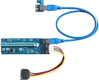 Kingwin Pci-E 1X-16X PWR 4P Powered Adapter Card Flexible Extension SATA to Molex Cable