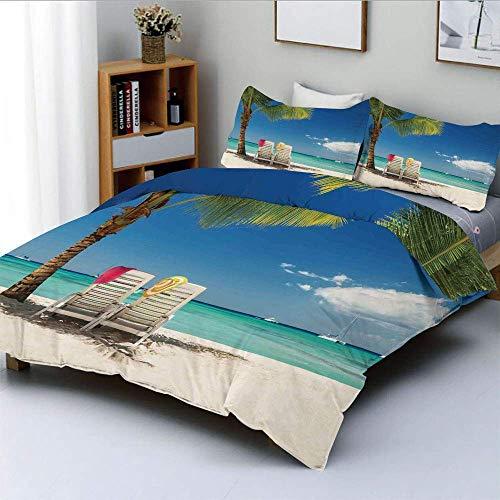 Juego de funda nórdica, escena relajante en la playa remota con sillas de palmera y botes, juego de ropa de cama decorativa de 3 piezas con imagen panorámica con 2 fundas de almohada, azul verde, el m