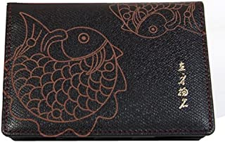 Handmade Brown Leather Fish Design Bifold Mini Business Credit Name Card Holder Case Wallet with ID Window and Gift Box