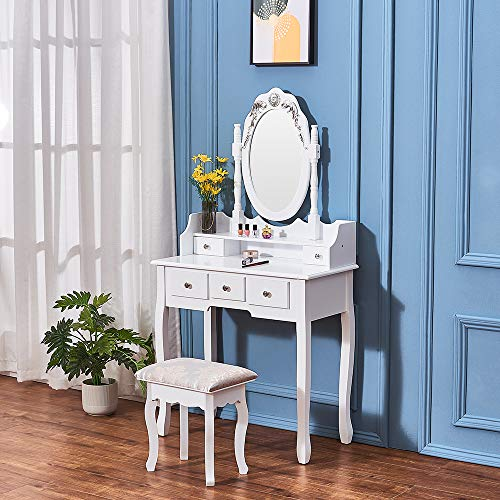 Storeinuk Wooden Dressing Table with Oval Mirror and 4 Drawers Storage Cosmetics Bedroom Makeup Size: 75 * 40 * 136cm,(White)