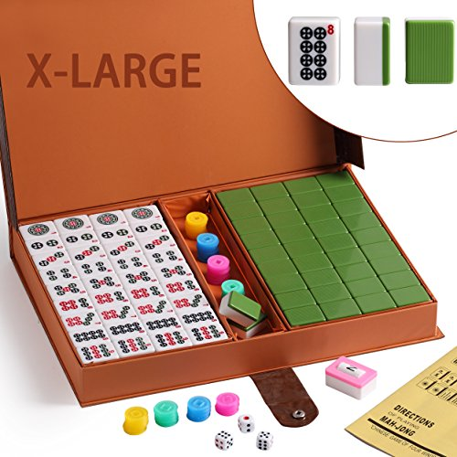 """Chinese Numbered Tiles Mahjong Set. 144 Tiles 1.45 """" Easy-to-Read Game Set / Complete Set Weighs 13 pounds. Gift / Birthday (Mah-Jongg, Mah Jongg, Majiang) Random Chips Style (Green)"""