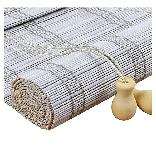 Zemin - Estor enrollable de bambú veneciano para instalación en interiores y exteriores, personalizable, desinfección de la salud, levantamiento de manos, 2 colores, 24 tamaños, bambú, gris, 80x180CM