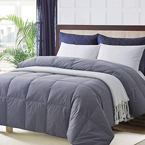 Ubauba All-Season Oversize King Down Comforter Gray, 100% Egyptian Cotton Quilted Down Duvet Insert with Corner Tabs, Goose Down Feather Comforter, Grey Cotton Comforter - Oversized King 116×98'
