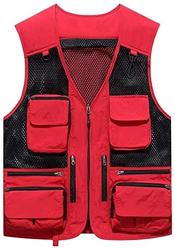 Chaleco Ligero de Malla Transpirable Repelente de Agua Multi Bolsillos Mosca Pesca Casual al Aire Libre Senderismo Liuyu. (Color : Red, Size : 4XL)
