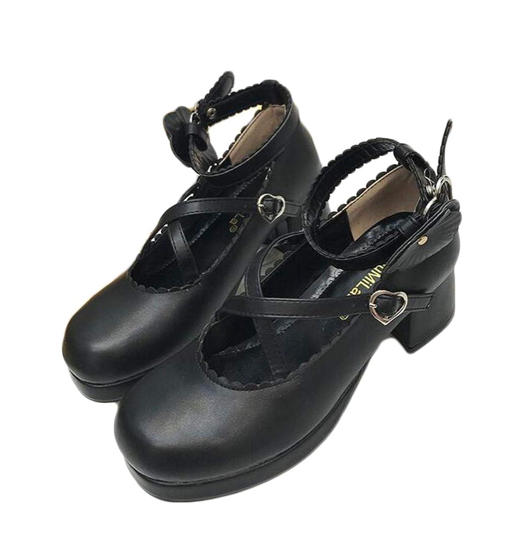 方程式単に凍る[ジャング] ロリータ 靴 ストラップ コスプレ レディース 太いヒール コンフォート メイド靴 ハイヒール 厚底靴 パンプス コスチューム 学生靴