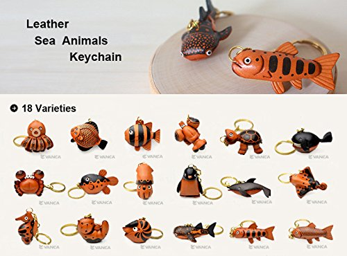 Sea-otter Fish/Sea Animal 3D Leather Keychain(L) VANCA CRAFT-Collectible Keyring Charm Pendant Made in Japan