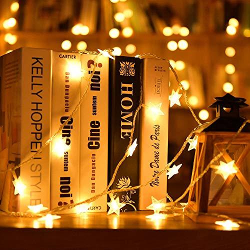 Luci Stringhe Catena Luminosa, Forma di Stella Impermeabili da 5 m 50 LED Corde Luce con 20 Corde Leggere Ganci per Decorazioni per la Casa, Feste, Natale, Giardini, a Batteria - Bianca Calda