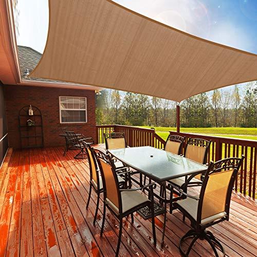 Toldo Vela de Sombra Rectangular 3.6 x 3.6m, Toldos Exterior Terraza Permeable Protección Solar 95% UV y Transpirable para Patio, Jardín, Camping, Porche, Piscinas
