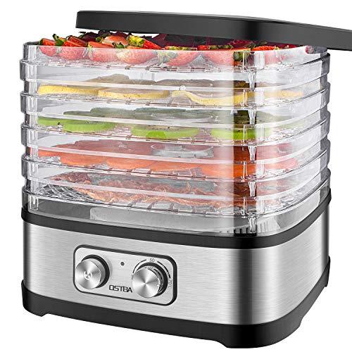 Dörrautomat, OSTBA Dörrgerät mit Temperaturregler, Dörrapparat mit 5 Einlegefächer, 240W, 35-70 Celsius, Dehydrator, Lebensmittel Fleisch Gemüse Obst Trockner, 72Std Timer, BPA frei