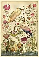 大人の子供のための1000ピースのジグソーパズル、大きなジグソーパズル鳥と花手作教育玩具ギフトパズル壁装飾