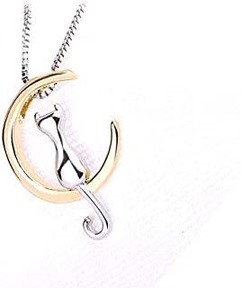 ZFjoy Necklace Cat And Moon Pendant Necklace Clavicle Chain Simple Chain Jewelry Gift for Women
