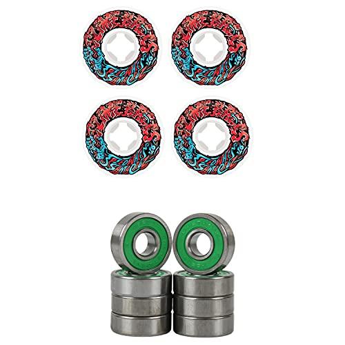 Slime Balls Skateboard Wheels 53mm Vomit Mini 97A White/Red ABEC 7 Bearings