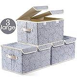 Prandom Large Foldable Storage Bins with Lids Fabric Decorative Storage Box Cubes Organizer Containers Baskets...