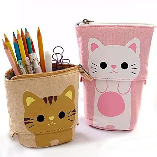 JUYEE ペンケース おしゃれ 大容量 人気 筆箱 小学生 高校生ランキング かわいい猫柄 伸縮可能 立つタイプ ペン入れとペンスタンド 2way 入学祝い (ピンク)