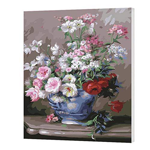 wxswz olieverfschilderij landschap bloemen vaas schilderij met cijfers DIY op canvas digitale afbeelding wandafbeeldingen voor het schilderen van cijfers kunstwerken voor geschenk in de slaapkamer 40 x 50 cm zonder lijst