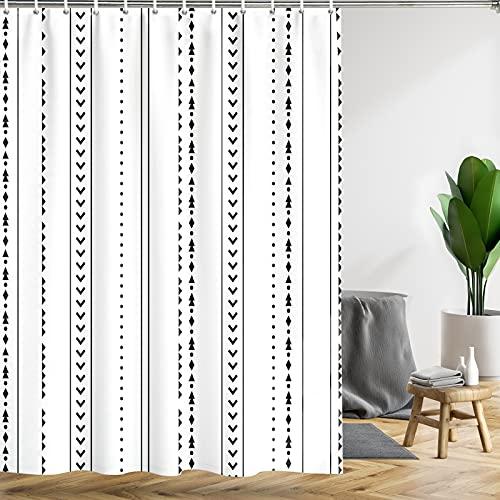 "Yuiqear Boho Shower Curtain Black White Geometric Shower Curtains with 12 Hooks Simple line Pattern Bath Curtain Modern Waterproof Fabric for Bathroom Decor (White, W59""×H71"")"