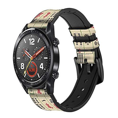 Innovedesire Mahjong Correa de Reloj Inteligente de Cuero y Silicona para Wristwatch Smartwatch Smart Watch Tamaño (20mm)