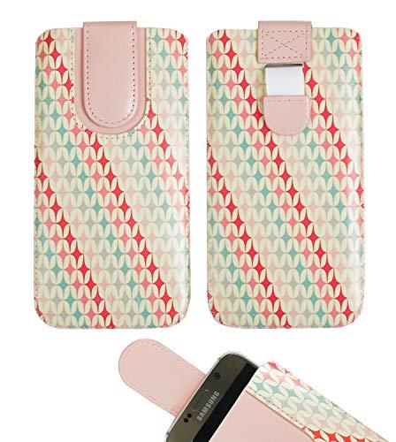 emartbuy Rosa Sterne Premium-Pu-Leder-Slide In Hülle Abdeckung Tashe Hülle Sleeve Halter (Größe LM3) Mit Zuglaschen Mechanismus Kompatibel mit Die Unten Aufgeführten Smartphones