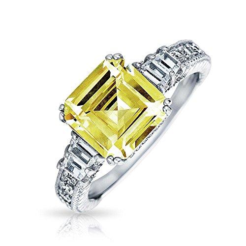 Bling Jewelry Art Déco-Stil 4 Ct Gelb Kanarischen CZ Quadrat Asscher Cut Verlobungsring Baguette Band Akzent 925 Sterling Silber