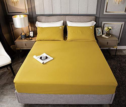 HPPSLT Protector de colchón, algodón, poliéster, Sábana de Cama de Color Puro de una Sola Pieza de algodón-Amarillo Mostaza_100cm × 200cm