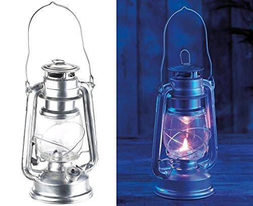 Lunartec Sturmlampe LED: LED-Sturmleuchte im Öllampen-Design, Flammen-Imitation, silberfarben (Flacker LED)
