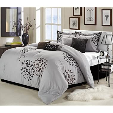 Chic Home Cheila 8-Piece Queen Comforter Set, Silver