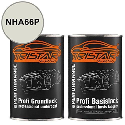 TRISTARcolor Motorradlack Set Dose spritzfertig für Honda Motorrad NHA66P Pearl Sunbeam White Metallic Grundlack + Basislack 2,0 Liter 2000ml
