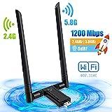 PiAEK WLAN Stick USB Wireless WiFi Adapter 5dBi WLAN Antenne Dual Band 1200 Mbit/s 5.8G/2.4G USB WLAN Adapter für PC Laptop Windows 10/7/8/XP/Vista Linux MAC