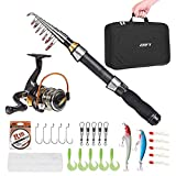 Lixada Portable Fishing Rod and Reel Combo Telescopic Fishing Rod Pole Spinning Reel Set Fishing Line Lures Hooks Barrel Swivels with Carry Bag Case Travel Fishing Full Package Kit