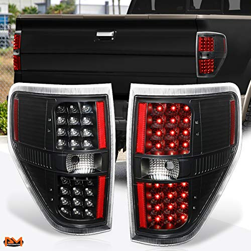 Compatible with Ford F-150 Pickup 09-14 Full LED Tail Light Rear Brake/Reverse Lamp Black