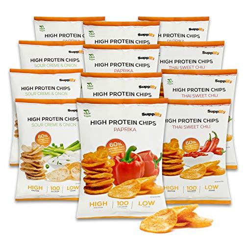 Supplify Protein Chips (Mix Box) - Eiweiß Snack zum Abnehmen oder Muskelaufbau - die leckere Alternative zu Protein-Pulver oder -Riegel (12x50g)