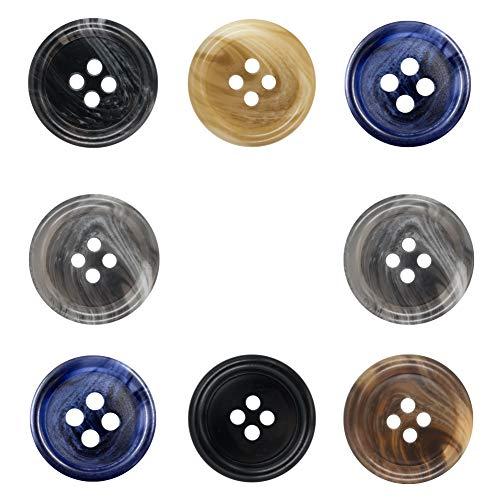 30 Pezzi Bottoni di Resina a 20mm Bottoni a 4 Fori con Pulsante Set per Uomo donna Maglioni, Uniforme, Camicia, Giacca, Cappotto e Giacca per Camicie o Altri Indumenti e Decorazioni
